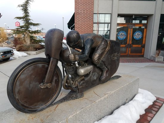Springville, UT: Speed Racer statue outside of Sidecar Cafe at Legends