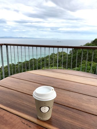 Great Flat White with an amazing view