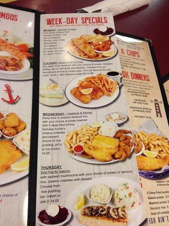 Archie S Seafood Restaurant Menu
