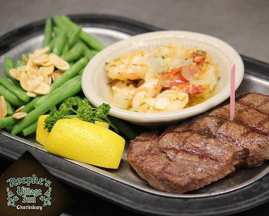 Roepke's Village Inn : Delicious Entrees - Combination Steak & Shrimp