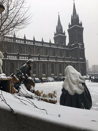 Shenyang, Chiny: Nativity scene still up