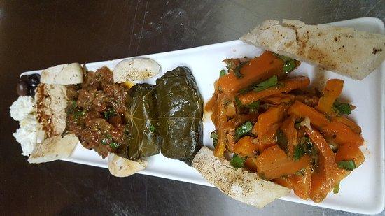 Oasis Restaurant & Catering: Oasis Cold Sampler Dolmas, Mediterranean Carrots, Roasted Eggplant, hummus, feta, Olives and Mor