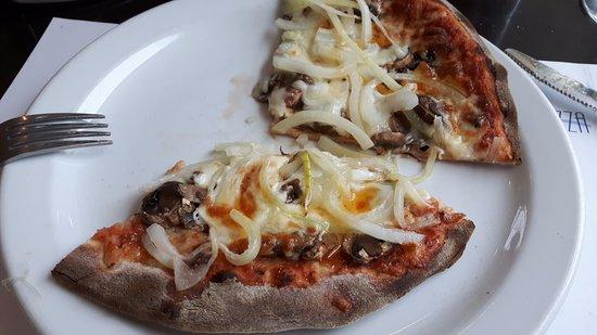 California Pizza: onion and mushroom pizza