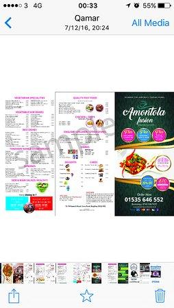 West Yorkshire, UK : Takeaway menu