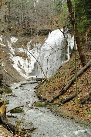 Ancaster, Καναδάς: The falls in winter. During cold weather there can be a lot of ice columns built up.