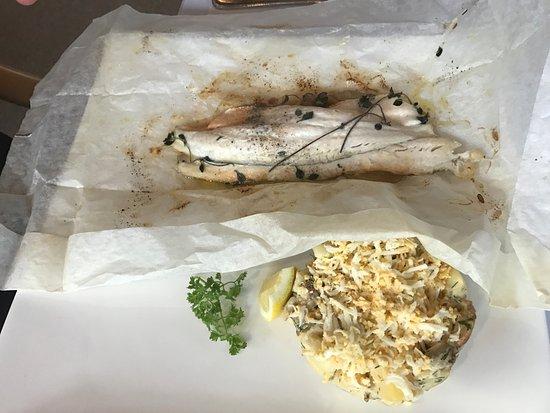 American River, Australia: Baked fish