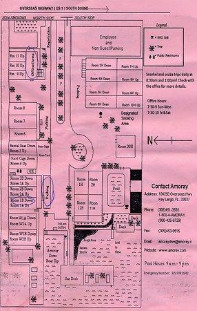 Amoray Dive Resort: Map of the Amoray facility from provided brochure