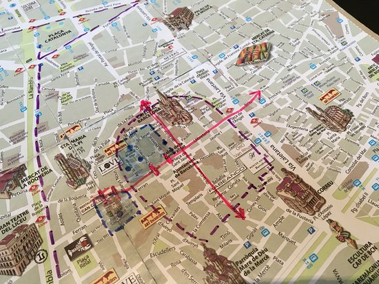 Jewish Barcelona Urban Cultours : Map indicating the old Jewish Quarter in Barcelona