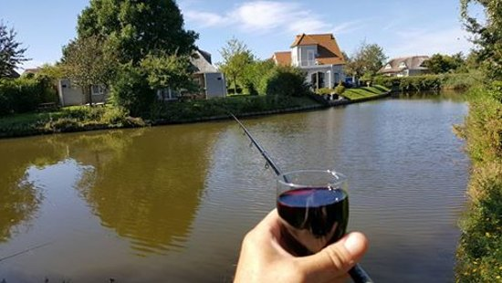 Hellevoetsluis, Países Bajos: Fishing from the patio. Cheers ! Waggler cast half way to the tree, or 5 mtr whip.