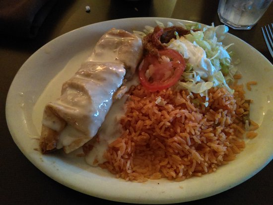Waite Park, MN: Beef Chimichanga with Spanish rice.