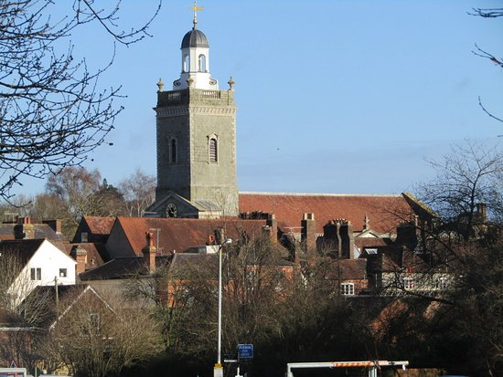 Blandford Forum, UK: The church from down by the river