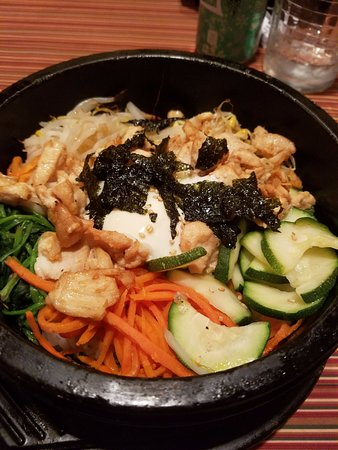 Nashua, NH: Chicken bibimbop in a sizzling stone pot