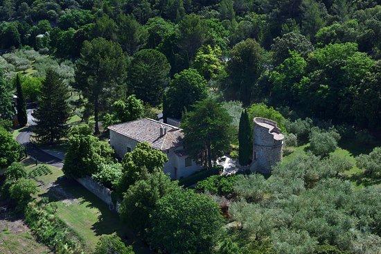 Moulin Fortune Arizzi : Vue aérienne du mas dans son écrin de verdure