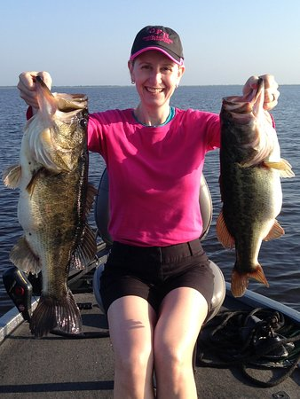 Okeechobee, FL: Wife's 10-pounder on the left - the first fish caught that day!