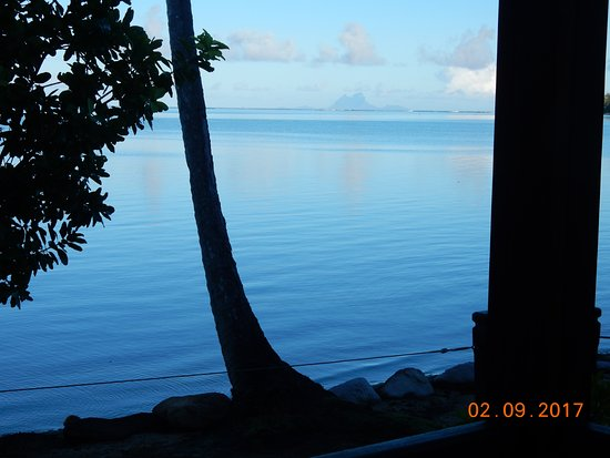 Uturoa, French Polynesia: Morning view of Bora Bora from our porch