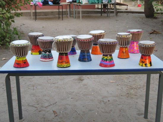 Gunjur, Gambia: We all painted out own drum, followed by a lesson in how to play them!