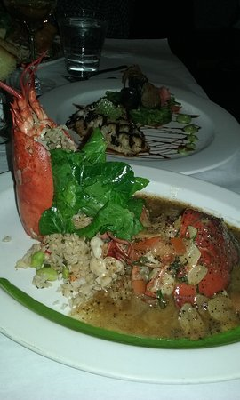 Blue Ginger: Black Pepper Garlic Lobster with fried rice in the front. Butterfish in the background.