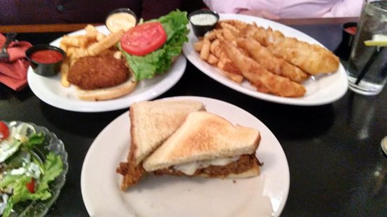 Harrison, OH: meatloaf sandwich, fish and chips, crab cake sandwich