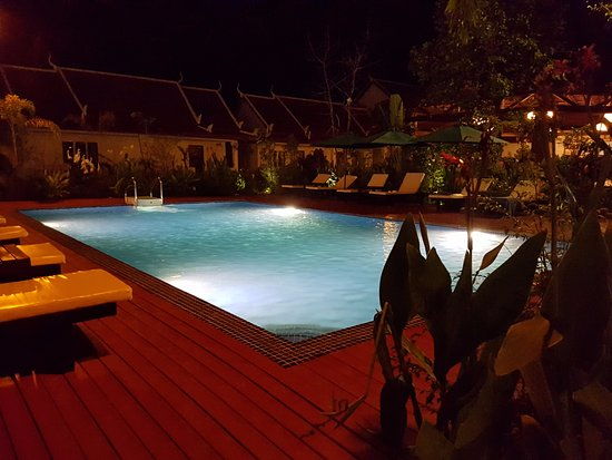 The pool area beside the restaurant