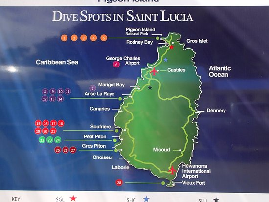 Dive Map Of St Lucia Picture Of Dive Center At Sandals Halycon - Saint lucia map