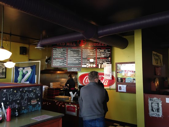 Red Mill Burgers--Interbay: Order counter and kitchen