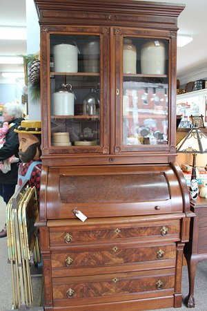 Antigonish, Canada: Beautiful early 1900's Walnut bookcase with a drum desk & draws