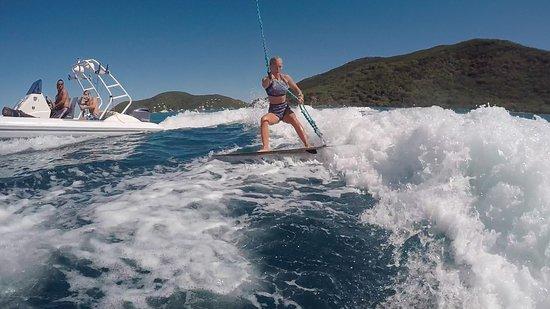 Spanish Town, Virgin Gorda: Randy helping me improve my wakesurfing!