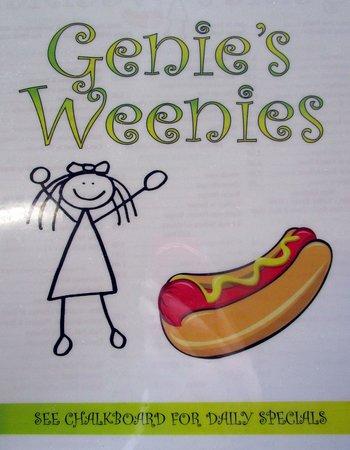Branchburg, นิวเจอร์ซีย์: Genie's Weenie's menu cover