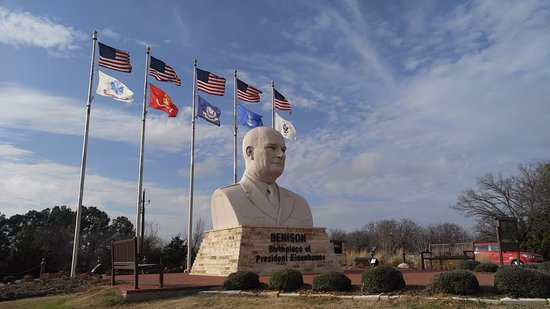 Eisenhower Veterans Monument: to the left of the soul you can see some white through the bushes, that's Frontier Village