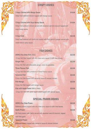 Coco's Thai: Takeaway Menu Fish,Prawn,Crab and Crispy Chicken