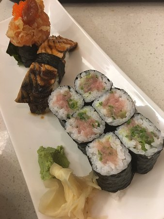 Burnaby, Canada: Negi Toro Maki, BBQ salmon skin, Salmon Scud Sushi