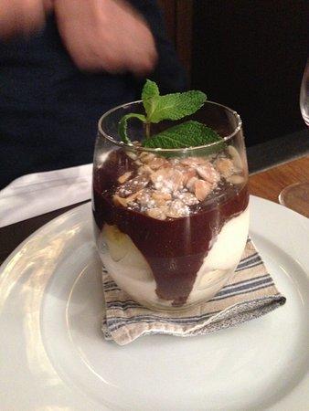 Chez Michel: Hazelnut Praline with pears