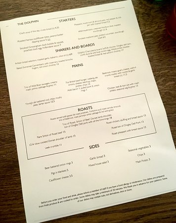 Betchworth, UK: Menu - which has changes weekly