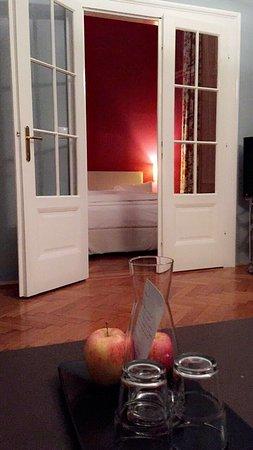 Hotel Altstadt Vienna: 1) Camille (?) Suite.  2) Viennese Girl (Wien gin + Pink Lemonade) at the hotel bar.