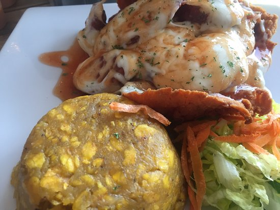 "Cidra, Puerto Rico: Exquisite!  Amapola chicken and mofongo (sweet plantain/maduros, ""chorizo"" and mozzarella on the"