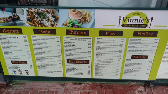Vinnie's Restaurant Pizzeria & Take Away: Menu