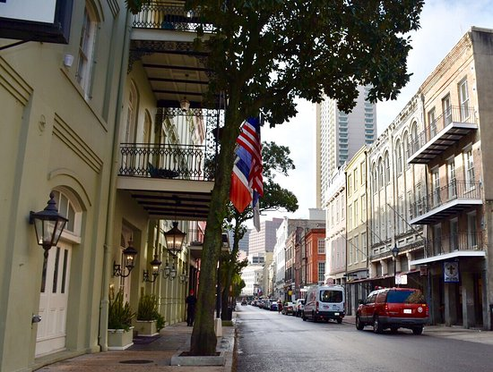 Bienville House: View from the street level looking down Decatur St.