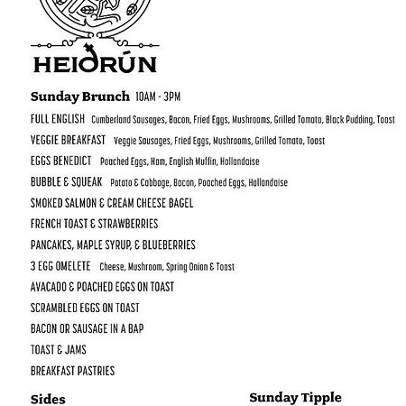 High Wycombe, UK: Brunch menu Sundays 10am-3pm