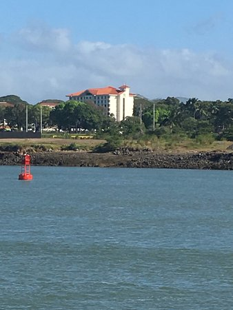 Holiday Inn Panama Canal: View of the hotel from the cruise shipwe were on.