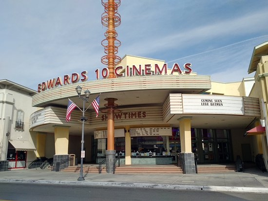Exterior of Edwards Brea Stadium West 10 Cinemas in downtown Brea, CA