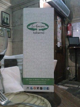 La Encina: La carta de la taberna.