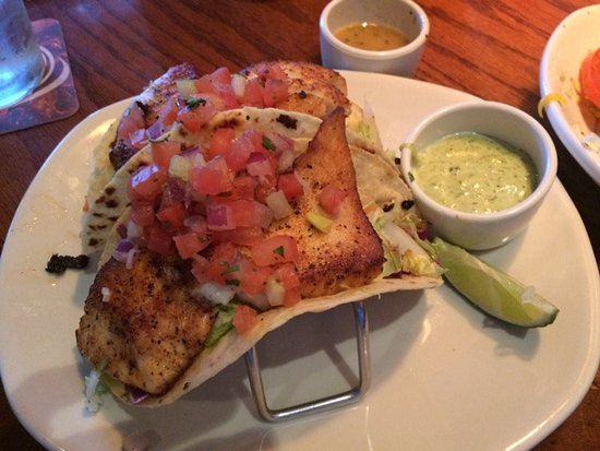 Wesley Chapel, FL: Three Fish Tacos with Avocado sauce.