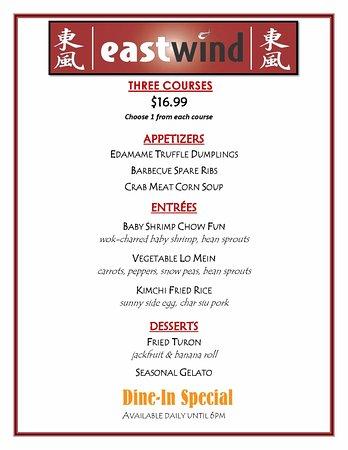 Casino kinesisk restaurant menu