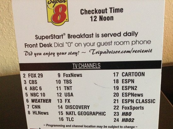 Pennsville, NJ : TV Channels offered (though not all working at time of my visit) and no PBS station offered