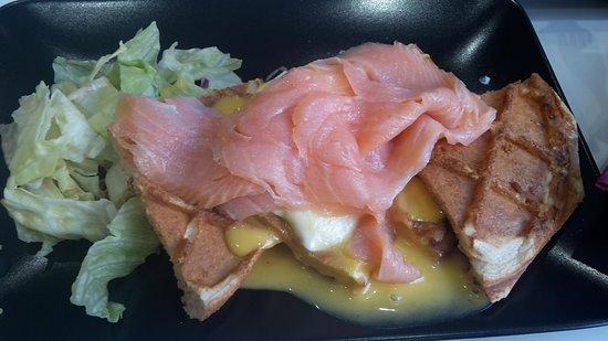 Ta' Xbiex, Malta: Waffle with Eggs Benedict and Salmon