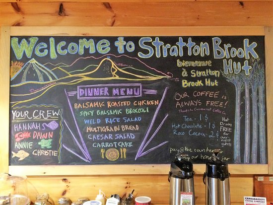Kingfield, ME: The sign that welcomes you at the Stratton Brook Hut