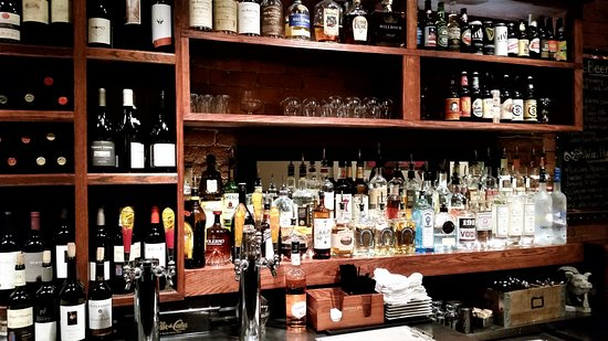 Ballston Spa, NY: Beautifully stocked main bar upon entering.
