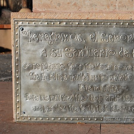 Chimayo, NM: Description of sculpture on plaza