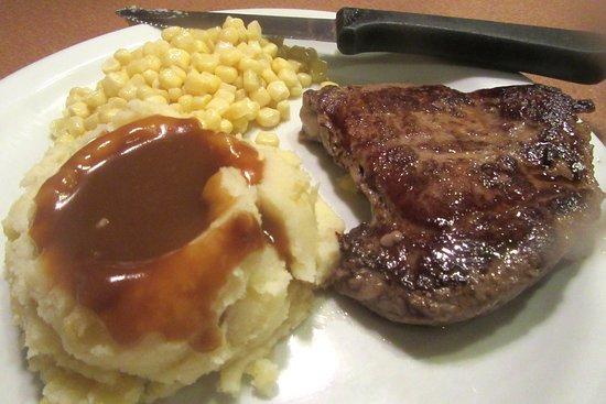 Sirloin Steak, Corn, Mashed Potatoes, Denny's, Milpitas, CA