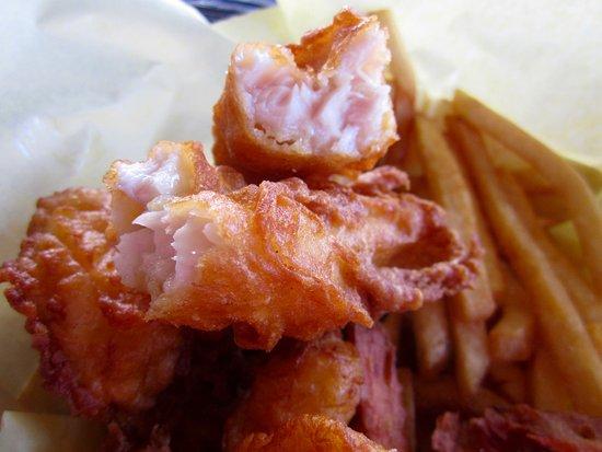 Railroad Fish & Chips: Fish is crispy outside, moist inside